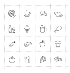 food icons set on wite background vector image