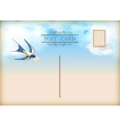 Sky bird letter mail postcard vector