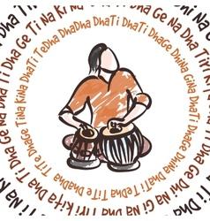 Indian musician playing tabla vector image