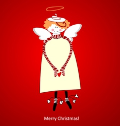 Christmas card angel of happiness vector