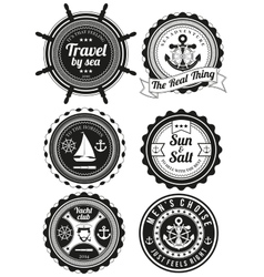 Set of round badges for sea and yacht club vector
