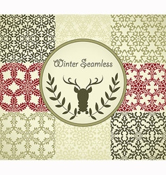 8 seamless patterns with snowflakes vector