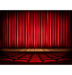 A theater stage with a red curtain seats vector image vector image