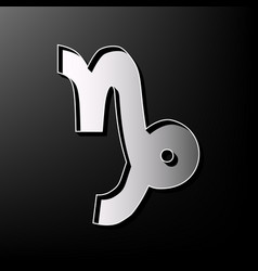 Capricorn sign gray 3d vector
