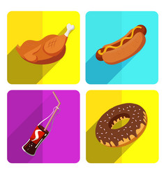 Colorful fast food icon set on bright background vector