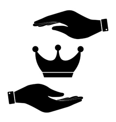 Crown in hand icon vector image