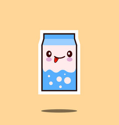 cute milk box icon kawaii container with smiley vector image vector image