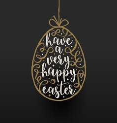 Easter egg with calligraphic type design vector