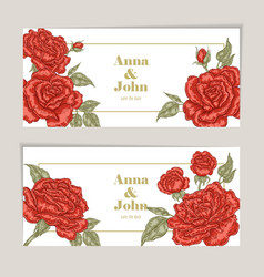 Floral wedding invitation card sketch vector
