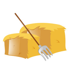 Fork and haystack on white vector