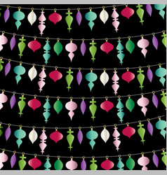 hanging christmas ornaments stripe on black vector image