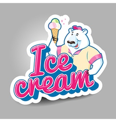 ice cream sticker vector image vector image