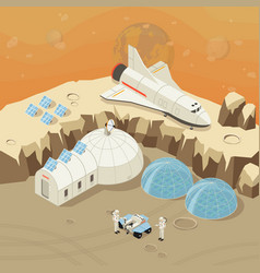 isometric planet exploration and colonization vector image vector image