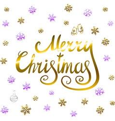 Merry christmas - gold glittering lettering design vector