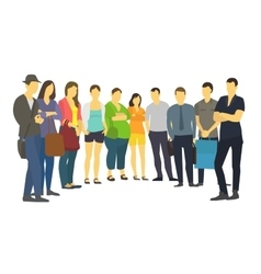 People are standing in a semicircle set many vector