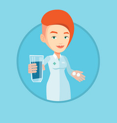Pharmacist giving pills and glass of water vector
