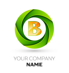 Realistic letter b logo in the colorful circle vector