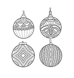 set of hand drawn christmas balls coloring book vector image
