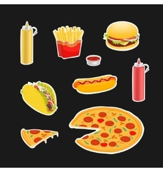 Set Symbols Fast Food vector image