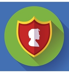 Shield icon with male profile - protection symbol vector