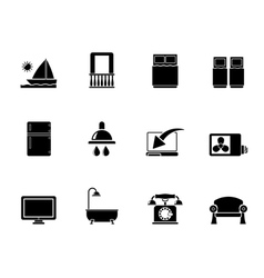Silhouette Hotel and motel room facilities icons vector image