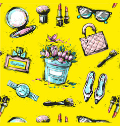 Sketch female fashion accesorize seamless pattern vector