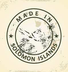 Stamp with map of Solomon Islands vector image vector image