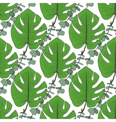 Tropical green leaves pattern vector image