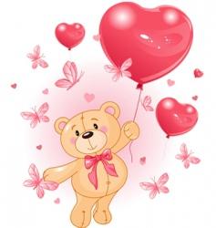 valentines teddy vector image vector image