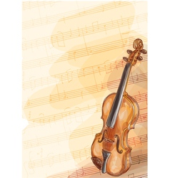 Violin on music background with handmade notes vector