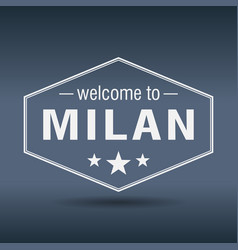 Welcome to milan hexagonal white vintage label vector