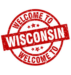 Welcome to wisconsin red stamp vector