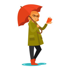 Woman in coat and rubber boots stands under vector