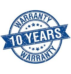 10 years warranty grunge retro blue isolated vector