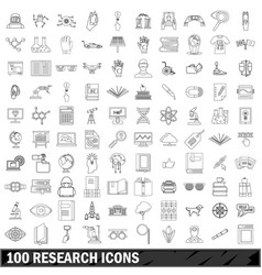 1000 research icons set outline style vector