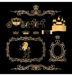 Golden vintage royal elements vector image
