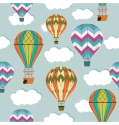 Vintage balloons seamless pattern Retro hot air vector image