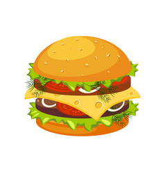 double steak burger with cheese street fast food vector image