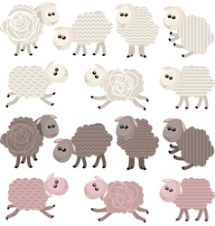 14 stylized sheep isolated on white background vector