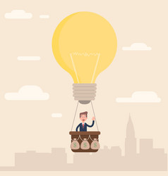 the businessman flies to the top with his idea vector image