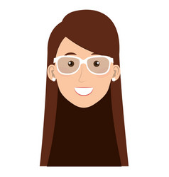 Beautiful and young woman head with glasses vector