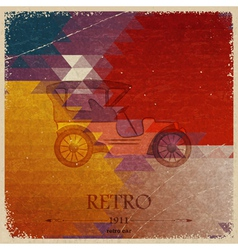 Abstract vintage background with retro automobile vector