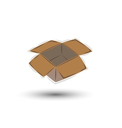 Empty open brown paper box with shadow vector
