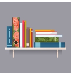 Colorful books on a shelf vector