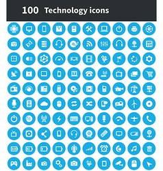 100 technology icons vector