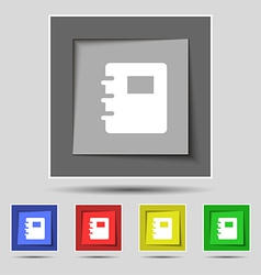 Book icon sign on the original five colored vector