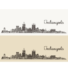 Indianapolis skyline engraved hand drawn vector