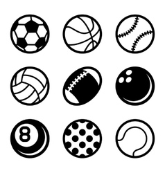 Sports balls icons set on white background vector