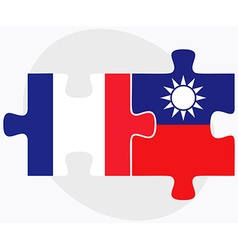 France and taiwan flags vector
