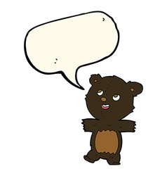 Cartoon black bear with speech bubble vector